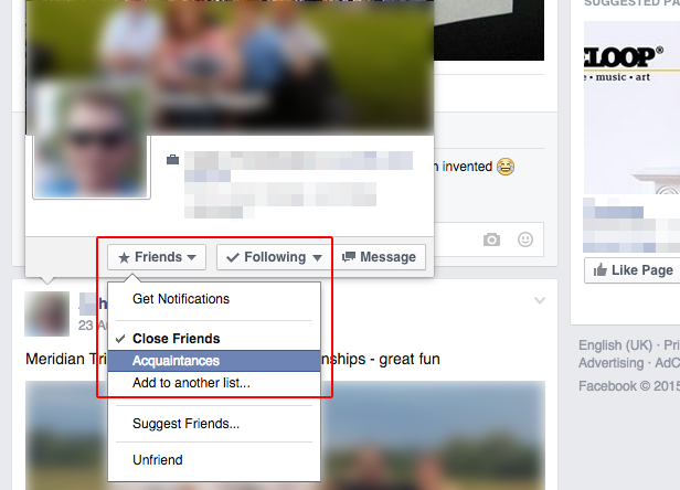 Change Facebook friend types