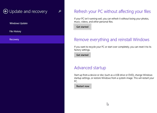 New options in Windows 8 & 10