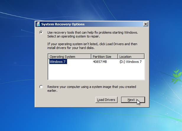windows 7 repair your computer does not load
