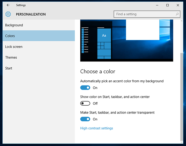 Personalise Windows 10