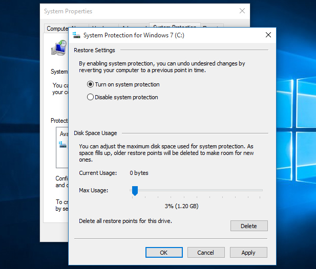 Windows 10 System Protection