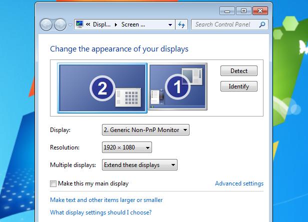 Windows display setup