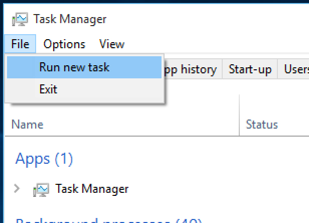 2. Run a new Windows task