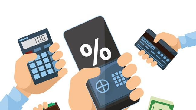 Graphic of hands gripping a smartphone calculator credit card