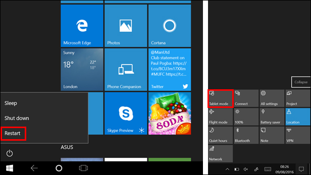 Restart Windows 10 using Tablet mode