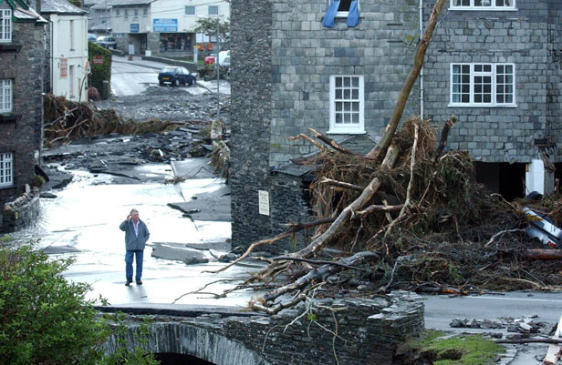 The scene after a wall of water tore through the picturesque tourist spot of Boscastle in north Cornwall