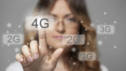 Woman tapping 4G graphic T