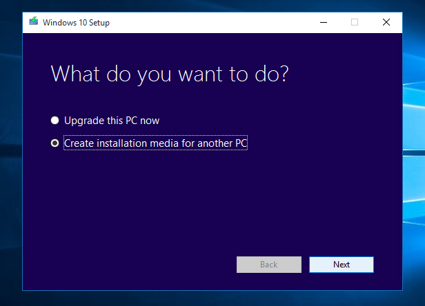 4. Run the Windows 10 Media Creation Tool