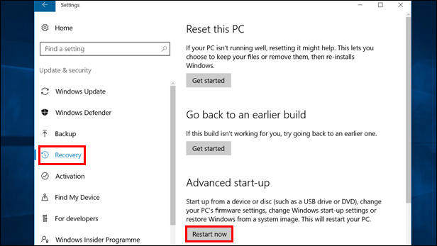 Shift + Restart to enter Windows 10 Safe Mode