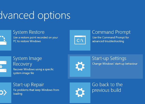 Windows 10 Restart options