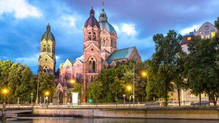 The St Lukas pink church in Munich