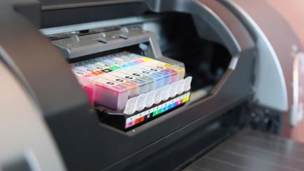 Open printer with ink cartridges