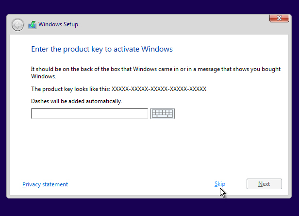 7. Begin the Windows 10 installation