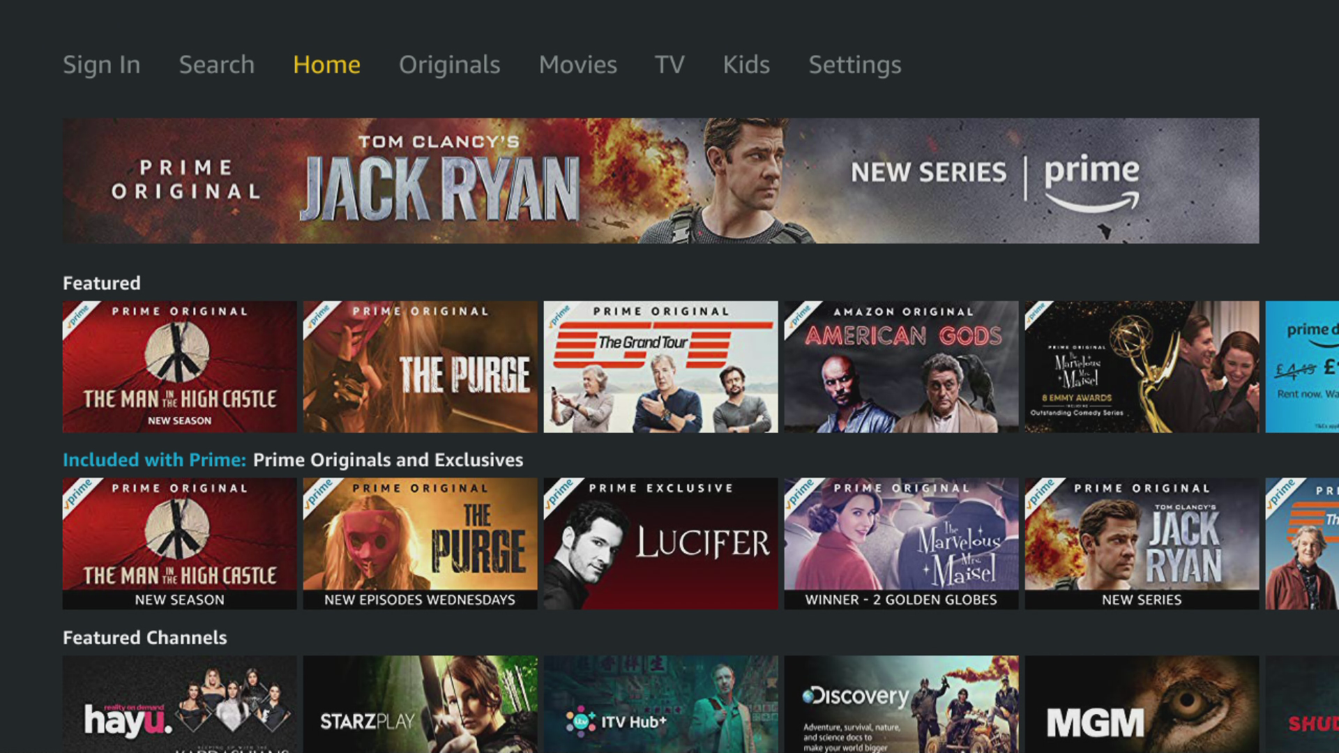 Amazon Prime Video app home on BT TV