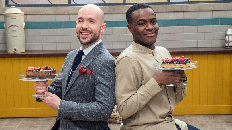 Bake Off: The Professionals hosts Tom Allen and Liam Charles