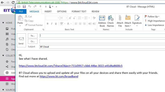 Recipients get an email with a link to photos in BT Cloud