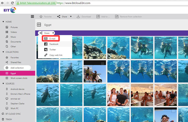 Sharing photos from your computer with BT Cloud