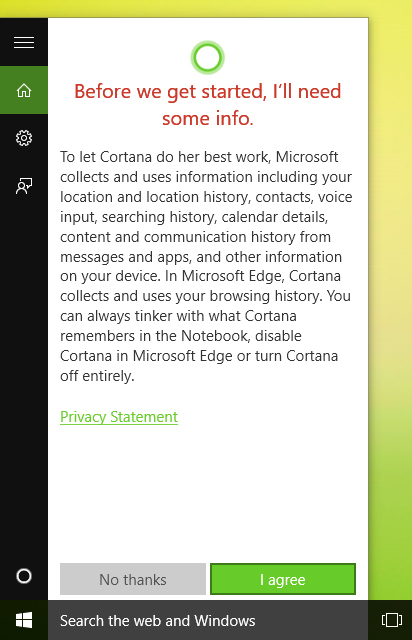 Agree to Cortana's terms