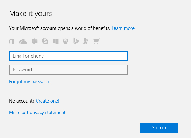 Switch to a Microsoft account