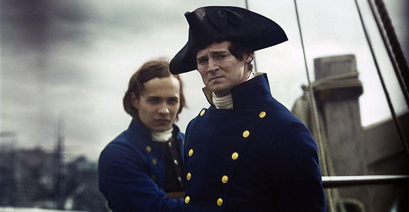 Dillane (left, with Benjamin Walker) in In the Heart of the Sea. Photo credit: Warner Brothers/Kobal/REX/Shutterstock