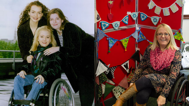 Julie Fernandez, as Nessa Lockhead and in more recent years. Image credits: left, Julie Fernandez with Saffron Burrows and Jemma Redgrave, Associated Newspapers/REX/Shutterstock. Right: juliefernandez.com.