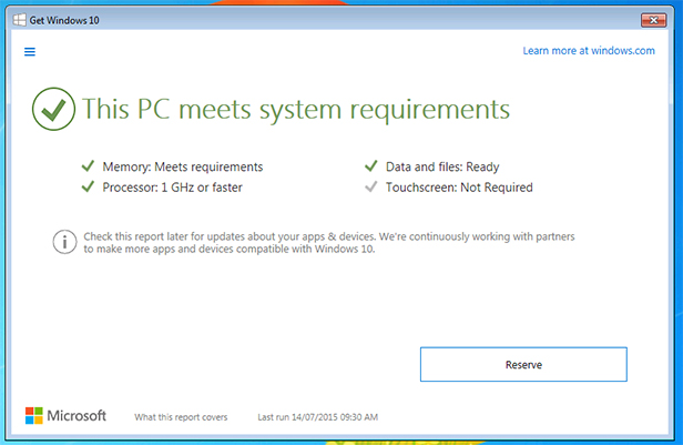 Get Windows 10 compatibility check