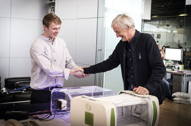 James Dyson with man next to 3D printer