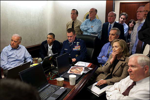 Obama and Clinton in White House