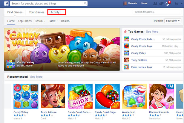 Facebook Games - game section