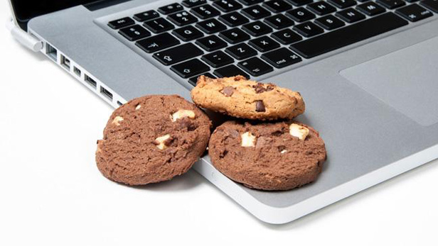 Origins of tech terms - cookies by laptop