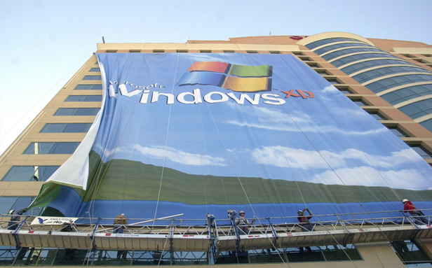 Windows XP sign on billboard