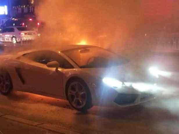 Brand New Lamborghini Catches Fire And Blows Up As Shocked Owner