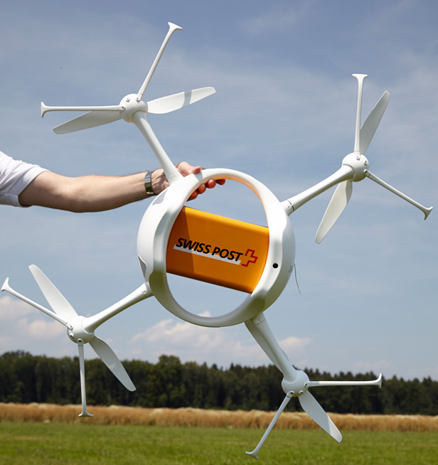 Swiss post drone in hand
