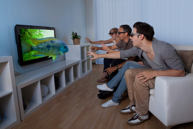 people watching 3D TV