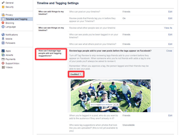 Facebook screenshot Tagging
