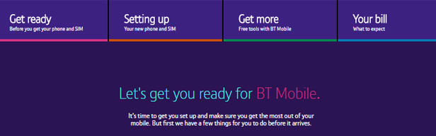 BT Let's get you started page