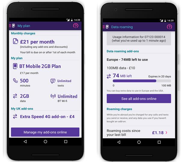 BT Mobile app - data roaming