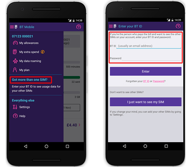 BT Mobile adding another SIM