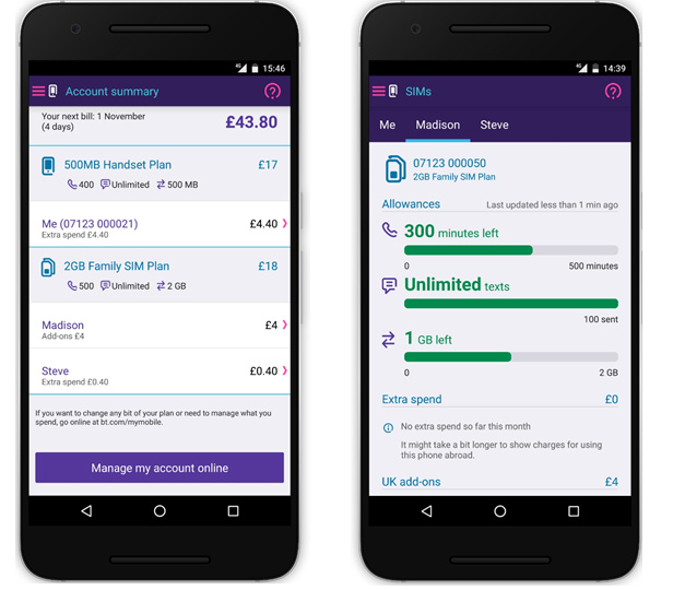 BT Mobile app account summary different SIMs
