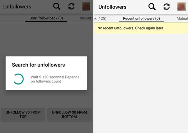 Unfollowers app Instagram