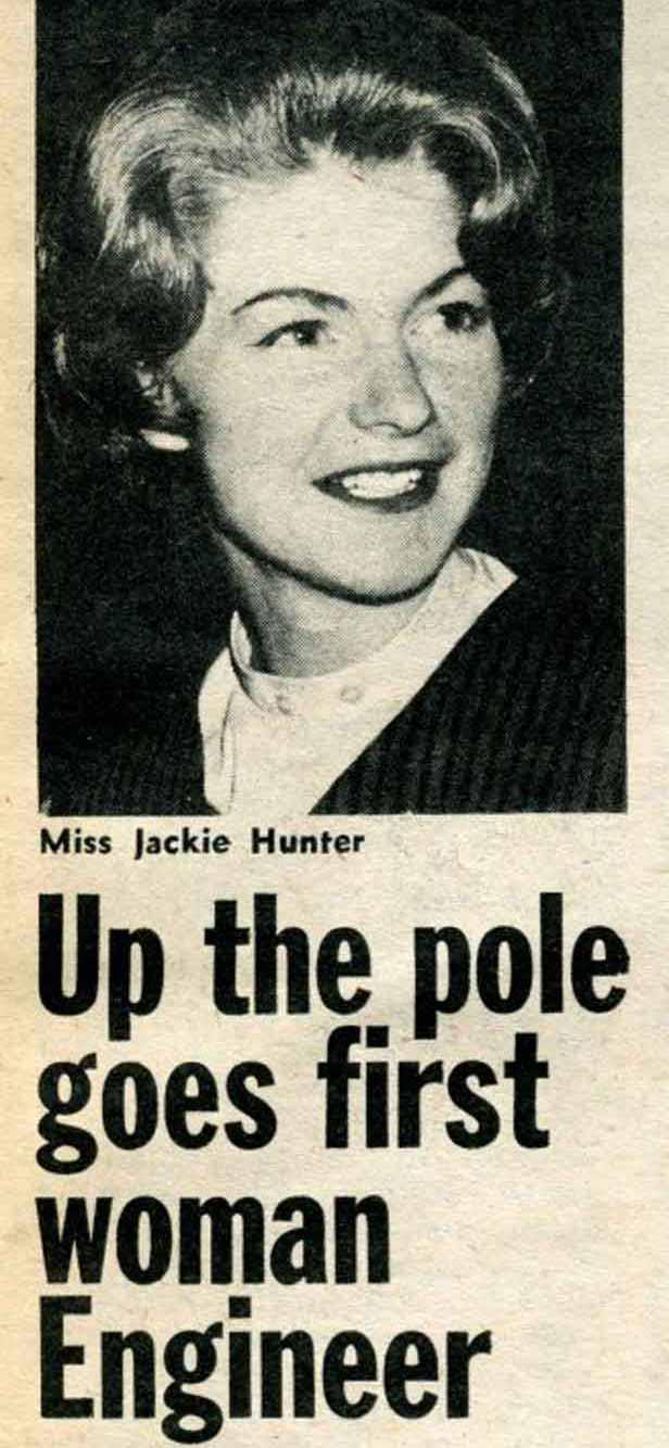 Newspaper clip of Jackie Hunter