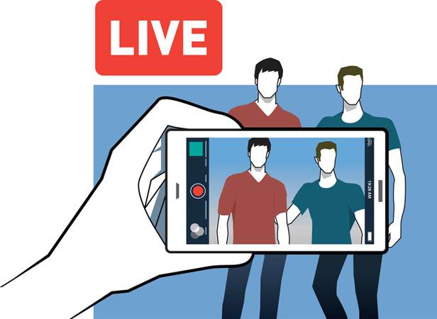 Graphic of two people live streaming