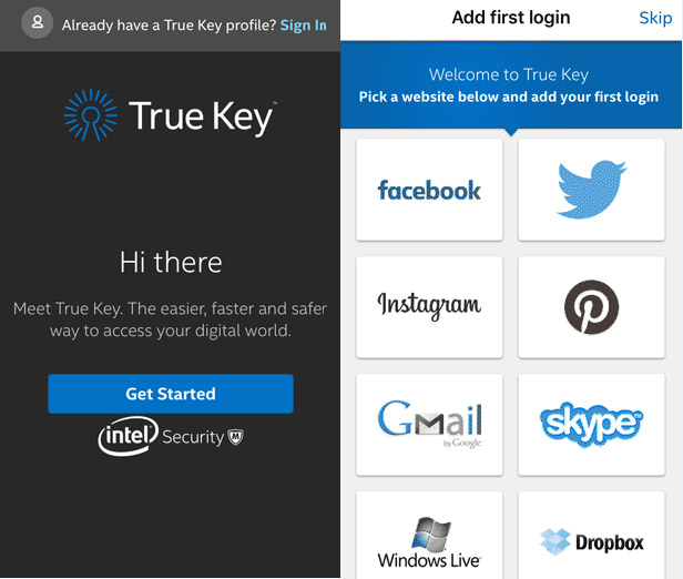 TrueKey app screenshot