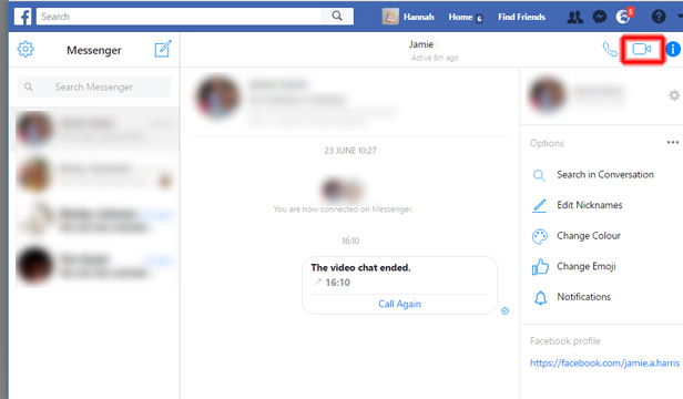 Facebook chat webcam