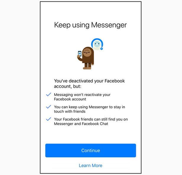 Facebook Messenger deactivate phone screenshot