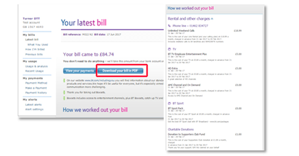 My BT latest bill screenshot