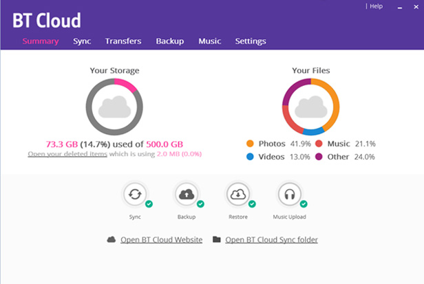 BT Cloud dashboard
