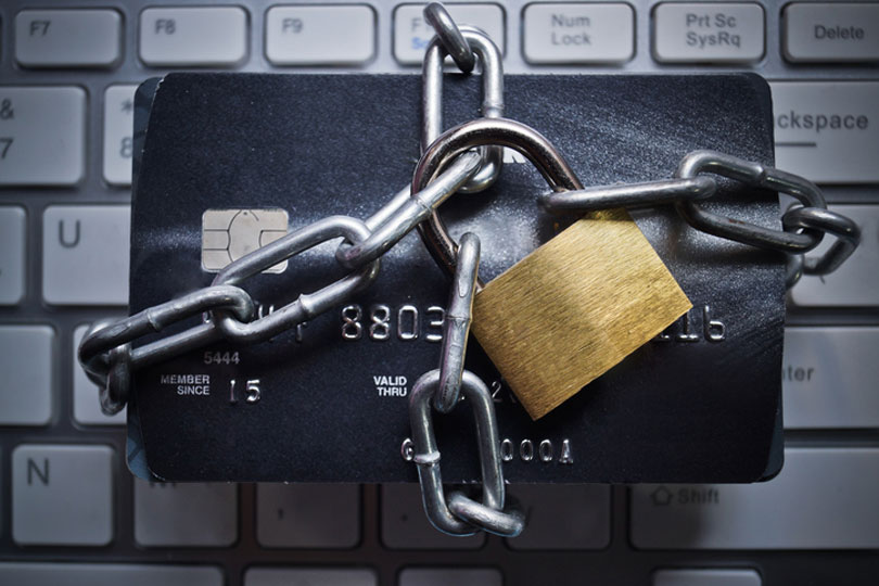 Padlock around credit card