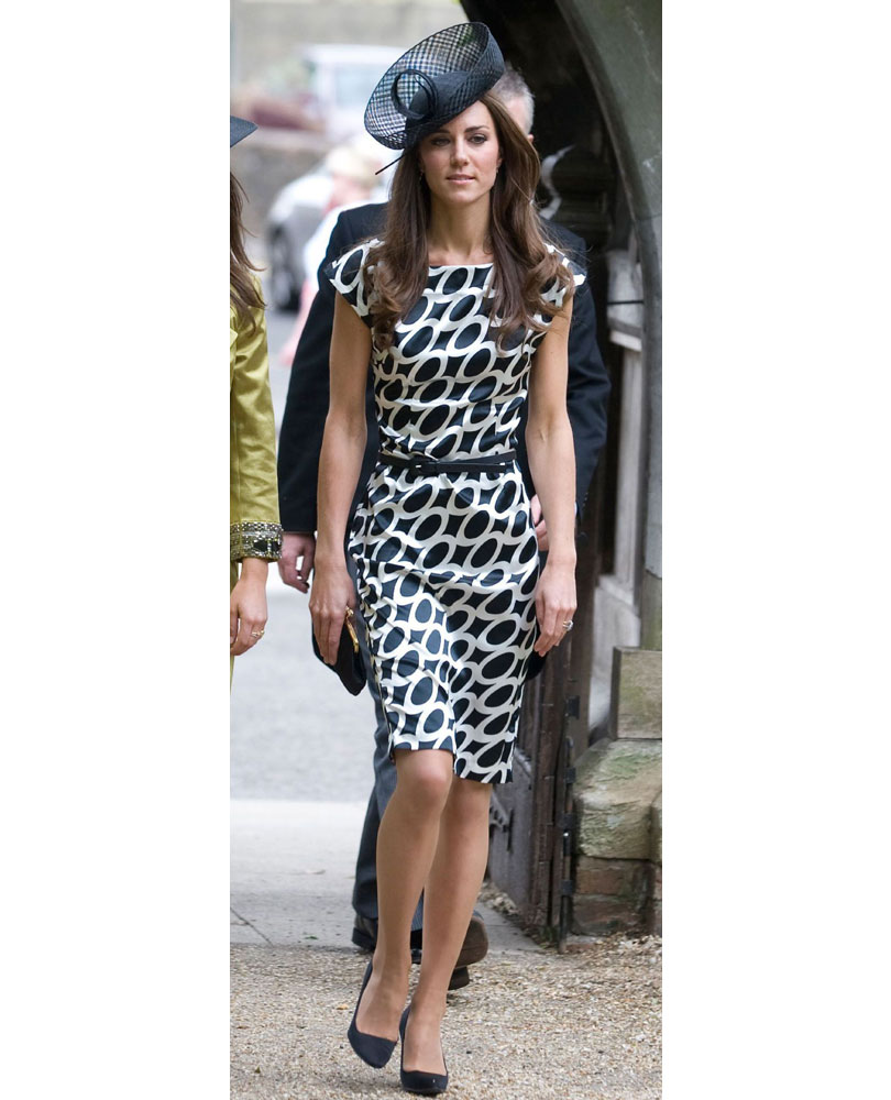 b074e85b2fea What Kate wore  A black fascinator teamed with a monochrome patterned dress  from Zara.