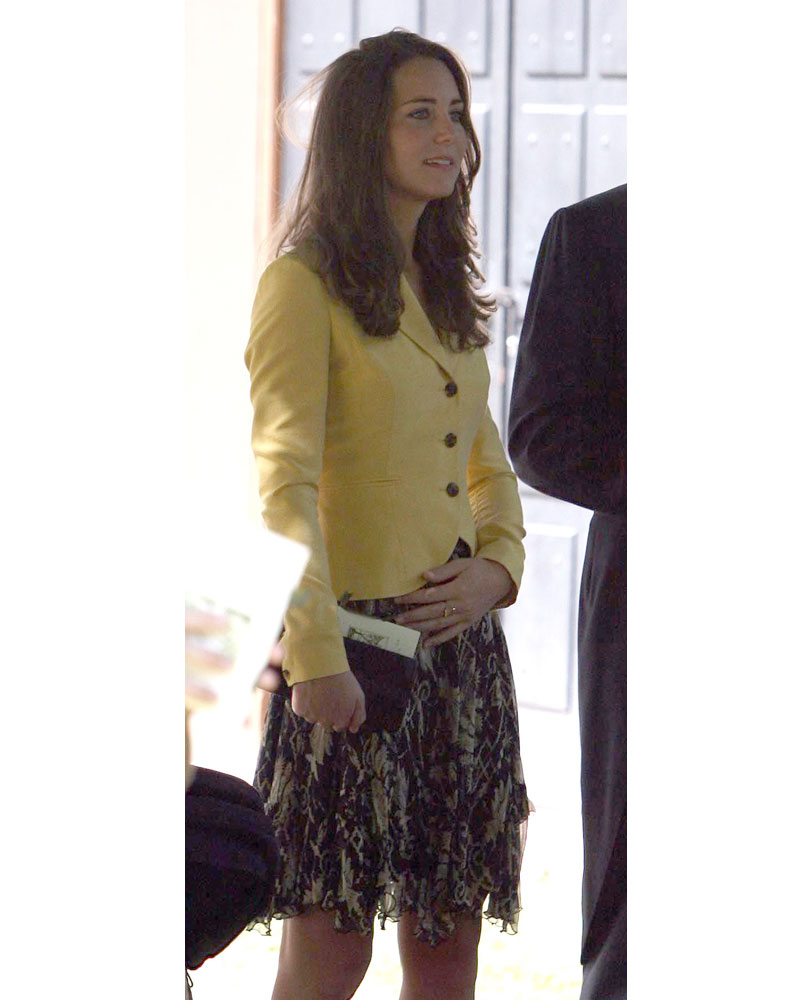 092873f1c336 What Kate wore  A chiffon patterned dress under a yellow fitted jacket.